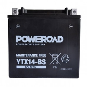 Motorcycle battery - Maintainance Free,YTX14-BS Poweroad 12V 12Ah