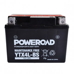 Motorcycle battery - Maintainance Free,YTX4L-BS Poweroad 12V 3Ah