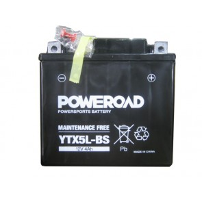 Motorcycle battery - Maintainance Free,YTX5L-BS Poweroad 12V 4Ah
