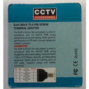 RJ45 male to 8 pin screw terminal adapter