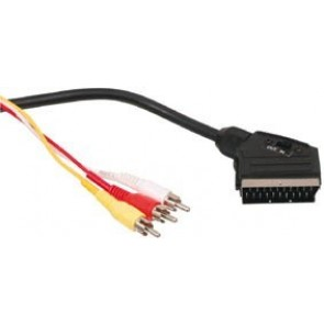 Cable Scart - 3xRCA with switch 1,5m