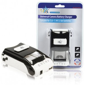 Universal digicam/camcorder battery charger