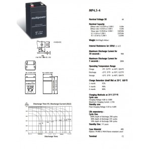 Lead-acid battery Multipower MP4.5-4 VRLA,4V,4.5 Ah