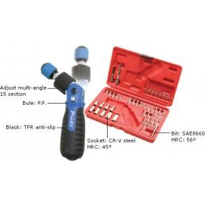 Preklopni obrnljiv ključ z zatikalom in 43-delnim setom izmenljivih nastavkov
