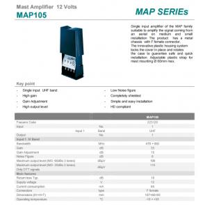 Antenski ojačevalec MAP105 1xIN 1xOUT F 12V