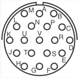 Industrijski moški 19 polni konektor za panelno montažo amphenol